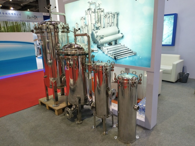 Bag filter housing on Aquatech Exhibition